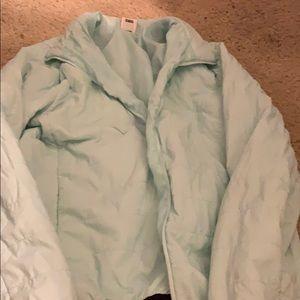 Blue brand pink zip up puffer coat